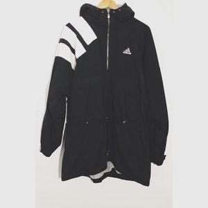 Vintage Adidas Black & White Fleece Lined Pullover